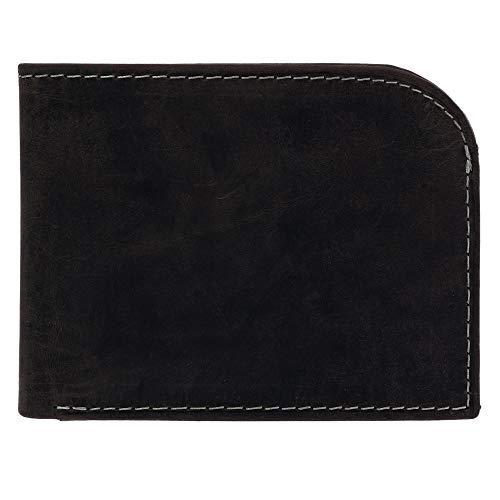 24e25ea5c166 CTM Mens Hunter Leather Distressed Front Pocket C-Fold Wallet, Black