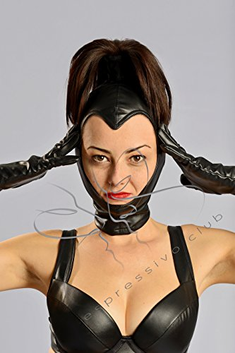 Open face hood with Ponytail / Leather mistress mask / BDSM Ponytail hood / Female leather hood / BDSM leather mask / Fetish leather mask with Ponytail / Leather Mask for Fetish Goddess / Female fetish mask / Leather dominatrix outfit / Size MEDIUM (Dominatrix Gear)