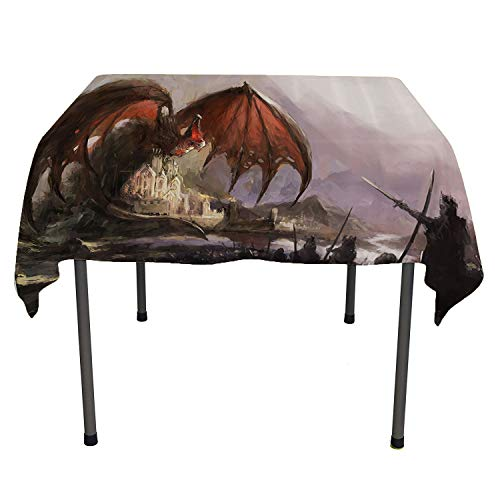Dragon Decor Collection, Wrinkle Free Anti-Fading Tablecloths Medieval Fantasy Theme Dragon and Dark Knights in Battle Scene with Fortress Castle, for Kitchen Dinning Tabletop Decor, 70x70 Inch Grey R