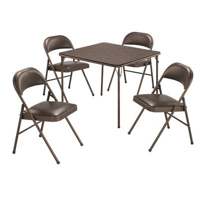 5 Piece 34'' Square Folding Table Set by MECO