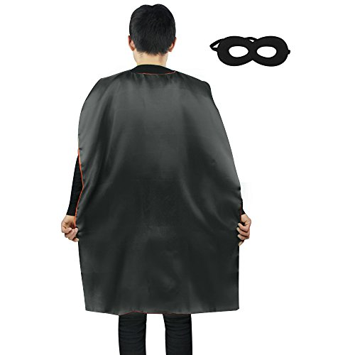 Black Adult Costumes Cape (iROLEWIN Double Sided Satin Superhero Cape Adult Sized Costumes with Mask (110cm) (Black Red))