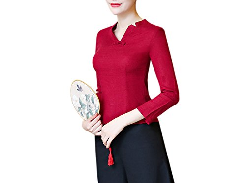 en Woman manga v Top algod Retro chaqueta Acvip cuello blusa larga Tang con wYRgfqTx