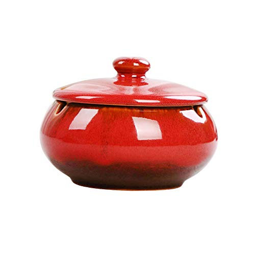 (HOOKDOR Ceramic Ashtray with Lids,Windproof,Cigarette Stoner Ashtray for Indoor or Outdoor Use,Ash Holder for Smokers,Desktop Smoking Ash Tray for Home Office Decoration (Red))