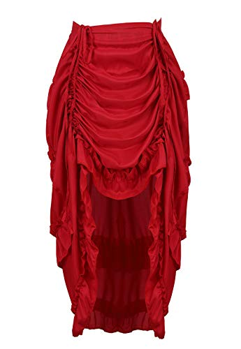 (Kranchungel Women's Gothic Steampunk Ruffle High Low Show Girl Cyberpunk Skirt Cosplay Costume 3X-Large/4X-Large Wine Red)