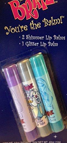 Bratz You're The Balm Berry Lip Balm Glitter Cloe Glitz & Jade Pack of 3