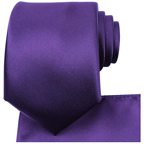 (KissTies Purple Necktie Set Solid Satin Tie + Pocket Square + Gift Box)