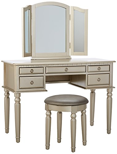 Bobkona F4079 St Croix Collection Vanity Set With Stool