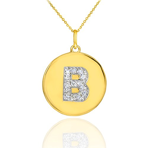 """10 ct 471/1000 Or Initiale """"B"""" Initiale Diamant-Disc-Pendentif Collier"""