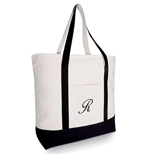 DALIX Personalized Tote Bag Monogram Black - R]()