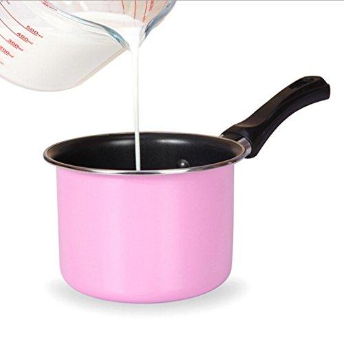 Fabal Useful Portable Soup Pot Cooking Tool Non-stick Milk Pot Mini Sauce Pan Stockpot (Pink)