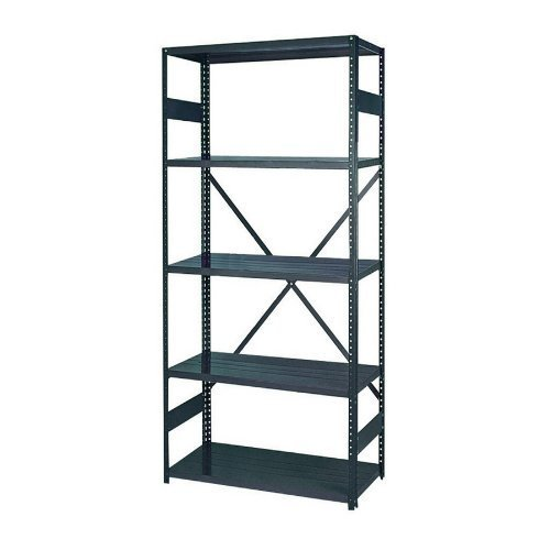 22 Gauge Steel Shelving (Edsal 2918-5 Industrial Gray 22 Gauge Steel Commercial Open Type Shelving, 400lbs Capacity, 36