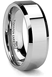 King Will Men's 8mm Tungsten Carbide Ring Polished Plain Comfort Fit Wedding Engagement Band