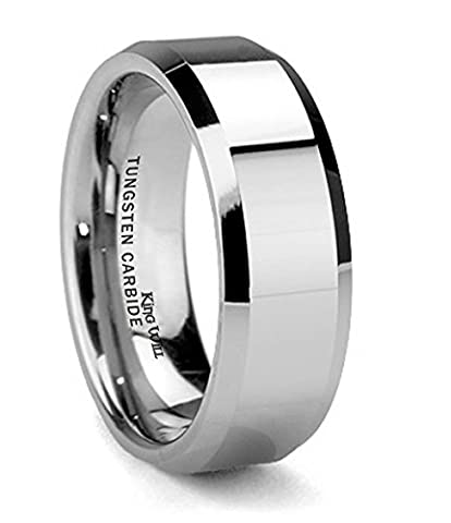 King Will BASIC Men's 8mm Tungsten Carbide Ring Polished Plain Comfort Fit Wedding Engagement Band (Tungsten White Gold Ring)