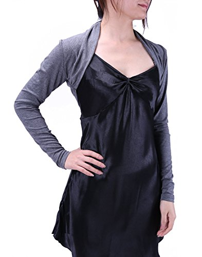 (HDE Women's Bolero Long Sleeve Cardigan Shrug (Dark Charcoal Grey,)