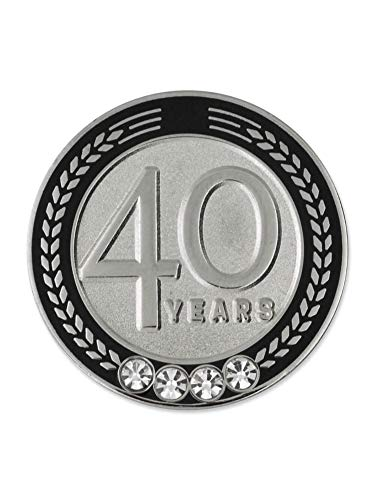 - PinMart 40 Years of Service Award Employee Recognition Gift Lapel Pin - Black