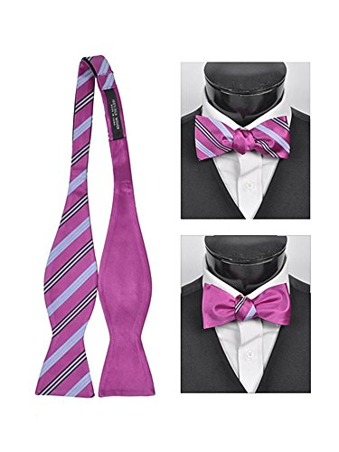 Men's Fuchsia 100% Silk Woven Freestyle and Reversible Bow Tie FRBS1030 ()