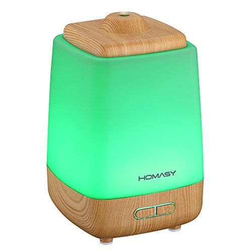 Homasy 200ml Aroma Essential Oil Diffuser Ultrasonic Cool Mist Whisper Quiet Hum..