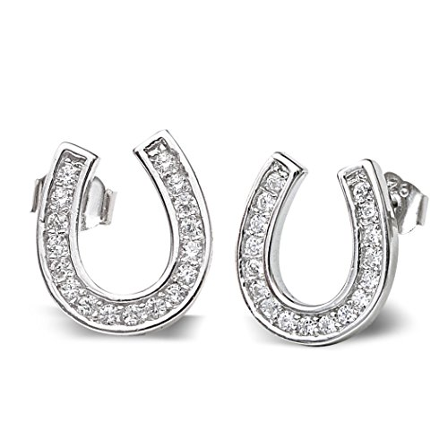 EVER FAITH 925 Sterling Silver Elegant Pave Cubic Zirconia Lucky Horseshoe Stud Earrings Clear (Lucky Rhinestone Earrings)