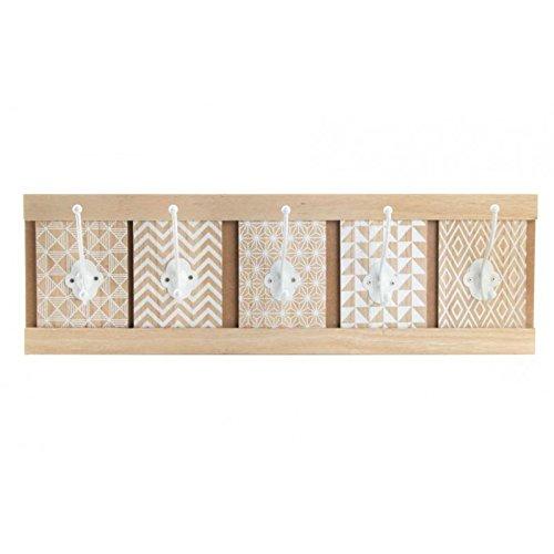 Perchero de madera para pared. 5 ganchos. Diseño moderno y ...