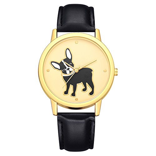 Women Quartz Watches On Sale,POTO Quartz Women Watches Clearance Dog Animal Pattern Stainless Steel Round Case Wristwatch Womens Leather Analog Alloy Wrist Watches For Teen girls - Leather Animal Black Watch Silver