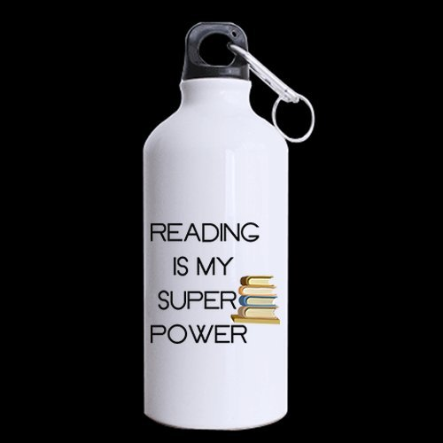 - Book Lovers Gifts Inspirational/Motivational Quotes Reading Is My Super Power Tea/Coffee/Wine Cup 100% Aluminum 13.5 OZ Sports Bottles