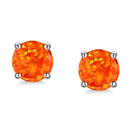 White Gold Plated Opal Stud Earrings with Round Cut Orange Fire Opal for Women Girls Hypoallergenic(6mm)
