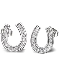 925 Sterling Silver Elegant Pave Cubic Zirconia Lucky Horseshoe Stud Earrings Clear