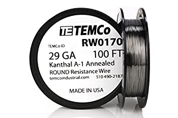 TEMCo Kanthal A1 wire 29 Gauge 100 Ft Resistance AWG A-1 ga