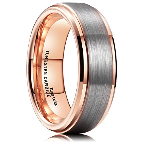 King Will Duo Unisex 7mm 18k Rose Gold Plated Tungsten Carbide Ring Two Tone Wedding Band 14 ()