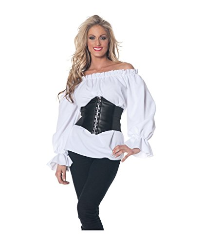 Medieval Shirt Adult Costumes (Shaper Corset White Chemise Shirt Top Medieval Peasant Blouse SC88523A,White,X-Large)