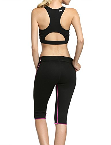 Hisweet Sauna Pants For Women Weight Loss Workout Leggings With Pockets Hot Neoprene Capri