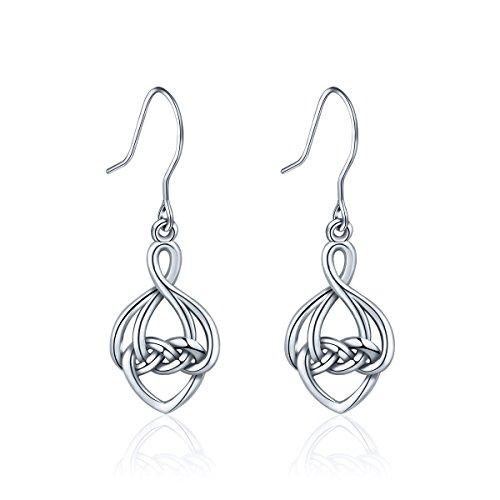 (INFUSEU 925 Sterling Silver Celtic Dangle Earrings, Irish Infinity Love Knot Good Luck Drop Hook Earrings)