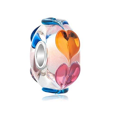 Vine Flower Glass Charm - 925 Sterling Silver Core - Fits European Bracelet (Rainbow Murano Glass)