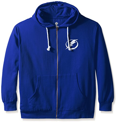 NHL Tampa Bay Lightning Women's Full Zip Fleece Logo Distressed Screen Print Hoodie, 1X, Royal/White Lightning Fleece Hoodie