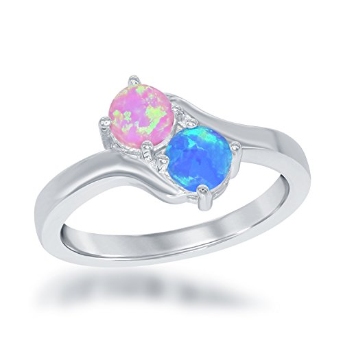 Sterling Silver Two-Stone Forever Created Blue and Pink Opal Ring