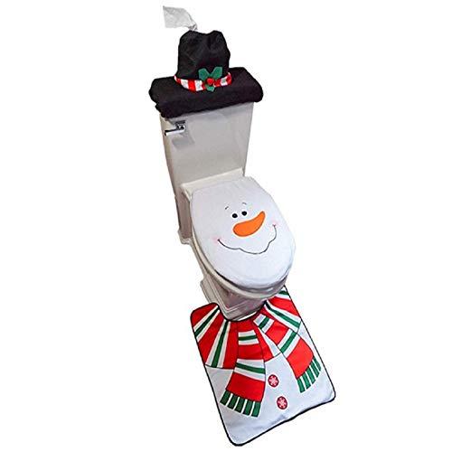 Tsmile Toilet Seat Gotd Bathroom Non-Slip Merry Christmas Style 4PCS Set Fancy Snowman Toilet Seat Cover and Rug Bathroom Set Christmas Decor]()