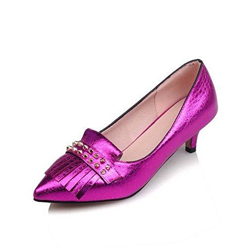 AgooLar Damen Hoher Absatz Eingelegt Ziehen auf Lackleder Spitz Zehe Pumps Schuhe, Rosa, 42
