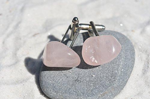 - Custom Rose Quartz Stone Cufflinks