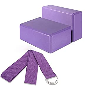 "Yoga Blocks and Strap Set, ACCMORYoga Blocks2 Pack 3"" x 6"" x 9"" Large Foam Yoga Block with6' Fitness Exercise Yoga Strap D Ring Buckle,Starter Kit for Any Type of Yoga Styles, Premium Quality"