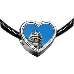 Chicforest Silver Plated Travel Nikolaikirche Church Tower Germany Photo Heart Charm Beads Fits Pandora Charm