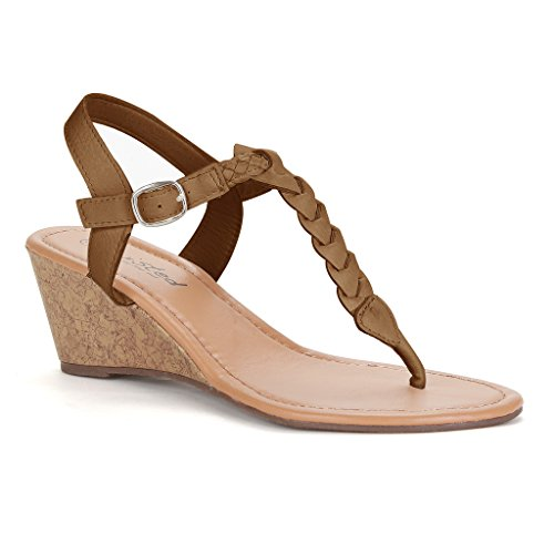 Twisted Women's Riley Braided T-strap Low Wedge Sandal - Cognac, Size 8