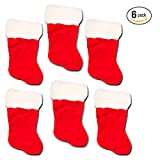 """Christmas Stockings Ultimate Set -- Pack of 6 Deluxe Plush Red and White Holiday Stockings for Family Kids (18"""" Inches)"""