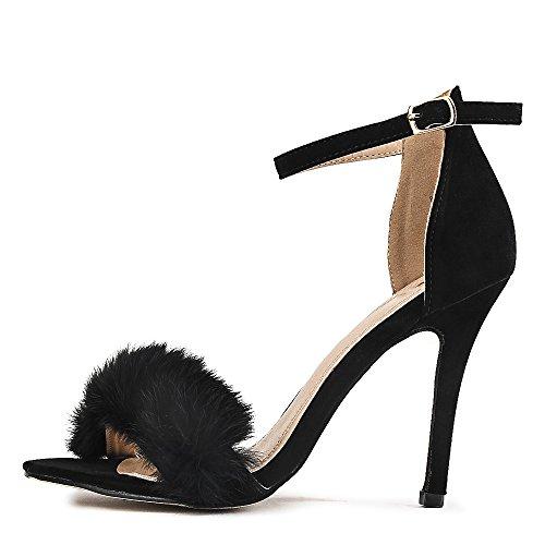 Shiekh Women's Fur High Heel Edward-25 Dress High Heel - Black Size 8.5