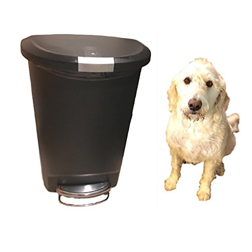 Dog-Proof Trash Can Locking 13 Gallon Kitchen Rubbish Foot Step Tall with Lock Lid Garage & eBook by OISTRIA from OIT