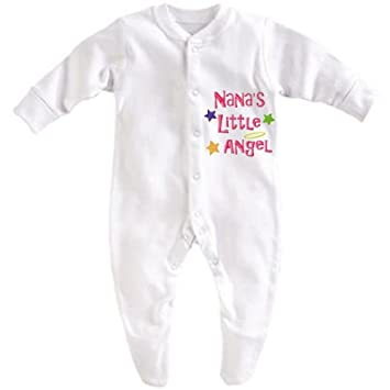 Unique Clothing Personalised Girls /'Little Angel/' Sleepsuit Baby Grow Any Name