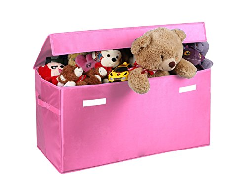 Toy organizer JUMBO Collapsible Toy Chest for Kids (XX-Large), Huge Storage Basket w/ Flip-Top Lid | Organizer Bin for Bedrooms, Closets, Child Nursery | Store Stuffed Animals, Games, Clothes, Shoes -