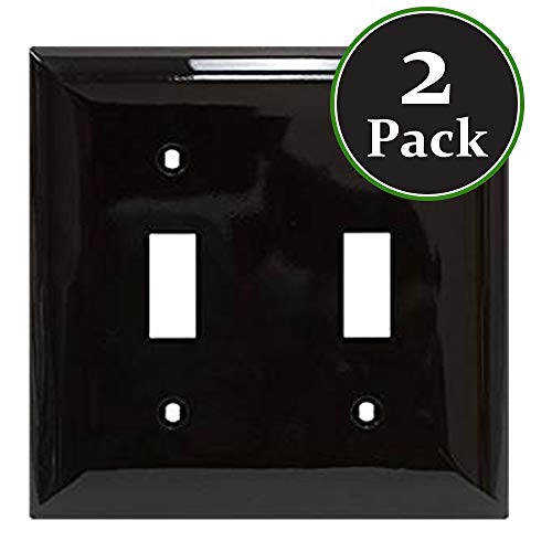 (2 Pack Double Switch Toggle Wallplate,Standard Size,Mount,Wall Plates Kit, Home Electrical Fan Light Cover, Unbreakable Material, Pack Dual Port Replacement Faceplates Covers Brown Plastic One)