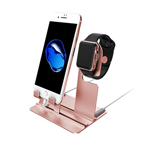 GBSELL Aluminum Charging Dock Station Charger Holder Stand For iPhone Apple Watch (Rose Gold)