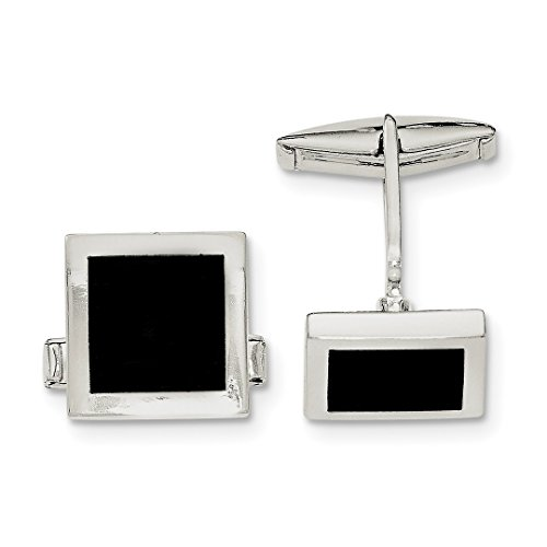 Silver Cut Cufflinks (ICE CARATS 925 Sterling Silver Black Onyx Cuff Links Mens Cufflinks Link Fine Jewelry Dad Mens Gift Set)