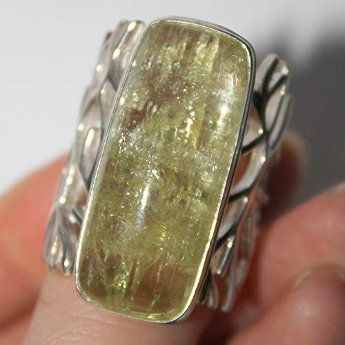 Heliodor silver ring, Large yellow beryl artistan ring, 10,5 ring size